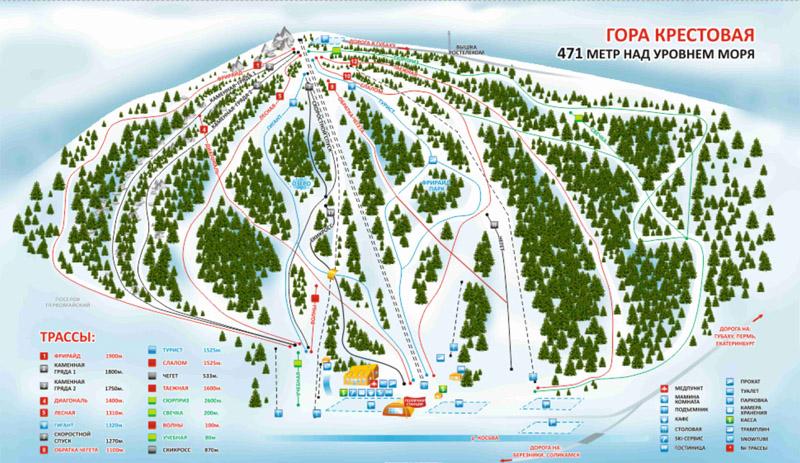 План горнолыжных трасс ГЛЦ Губаха